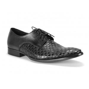 Matné pánske kožené topánky COMODO E SANO v čiernej farbe