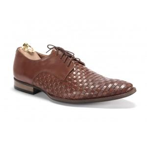 Elegantné pánske kožené topánky v hnedej farbe