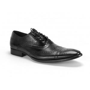 Vybíjané pánske kožené topánky v čiernej farbe COMODO E SANO