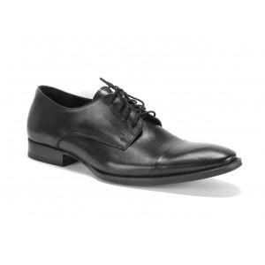 Pánske kožené topánky na šnúrovanie COMODO E SANO v čiernej farbe