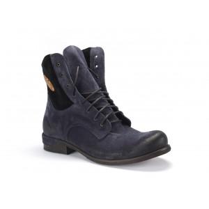 Vysoké pánske kožené zimné topánky v modrej farbe