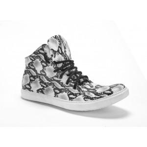 Pánske vysoké športové vzorované kožené topánky v bielej farbe