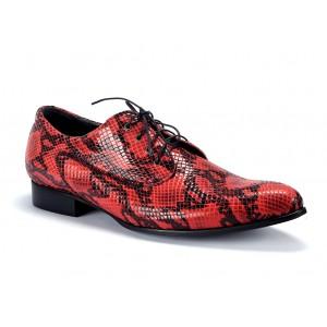 Pánske extravagantné kožené topánky v červenej farbe