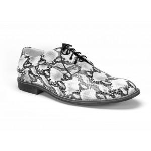 Tigrované pánske kožené topánky COMODO E SANO v bielej farbe