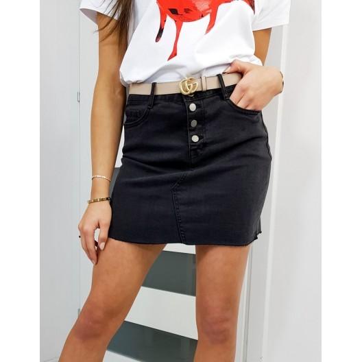 Čierna rifľová sukňa so zapínaním na gombíky