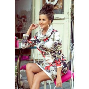 Štýlové dámske šaty s abstraktným vzorom a trendy golierom