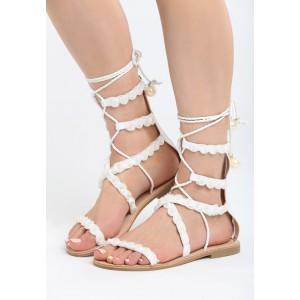 VEĽKOSŤ 36 Gladiátorky topánky na leto bielej farby
