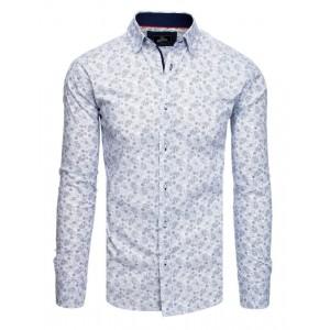 Moderná biela vzorovaná košeľa s dlhým rukávom