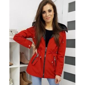 Červená jarná bunda s odnímateľnou kapucňou pre dámy