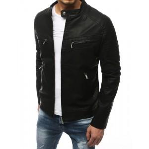 Čierna pánska kožená bunda so zapínaním na zips