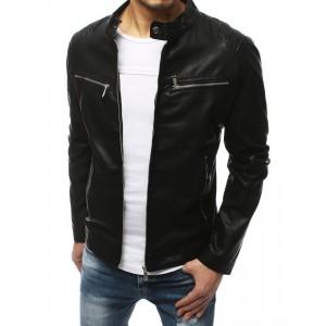 Jarná pánska kožená bunda čiernej farby s náprsnými vreckami