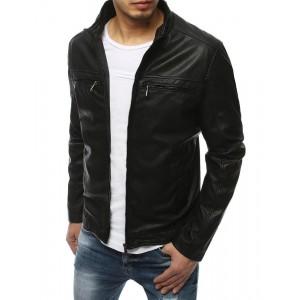 Moderná pánska kožená bunda čiernej farby bez kapucne