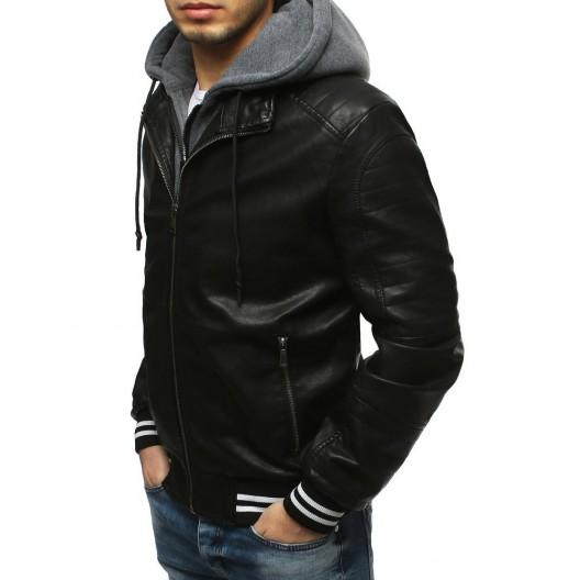 Prechodná kožená bunda s odnímateľnou kapucňou pre pánov