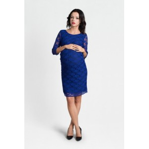 VEĽKOSŤ XL-42 Elegantné modré tehotenské čipkované šaty nad kolená