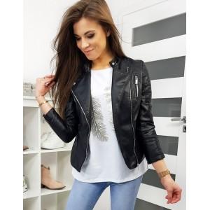 Čierna dámska kožená bunda na jar