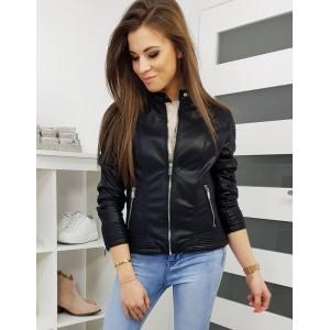Trendová dámska kožená bunda na zips čiernej farby