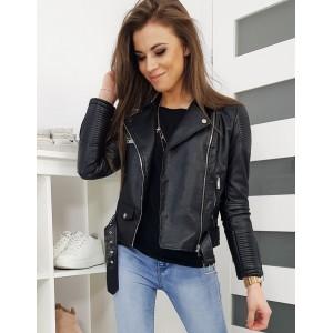 Dámska kožená bunda s ozdobnou prackou čiernej farby