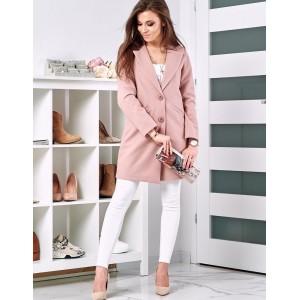 Ružový dámsky jarný kabát s dvoma gombíkmi