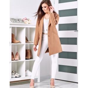 Trendový dámsky jarný kabát svetlo hnedej farby