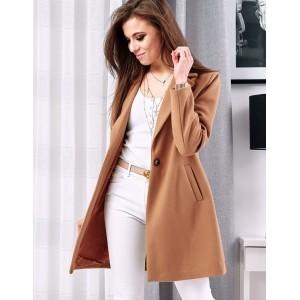 Štýlový dámsky jarný kabát hnedej farby
