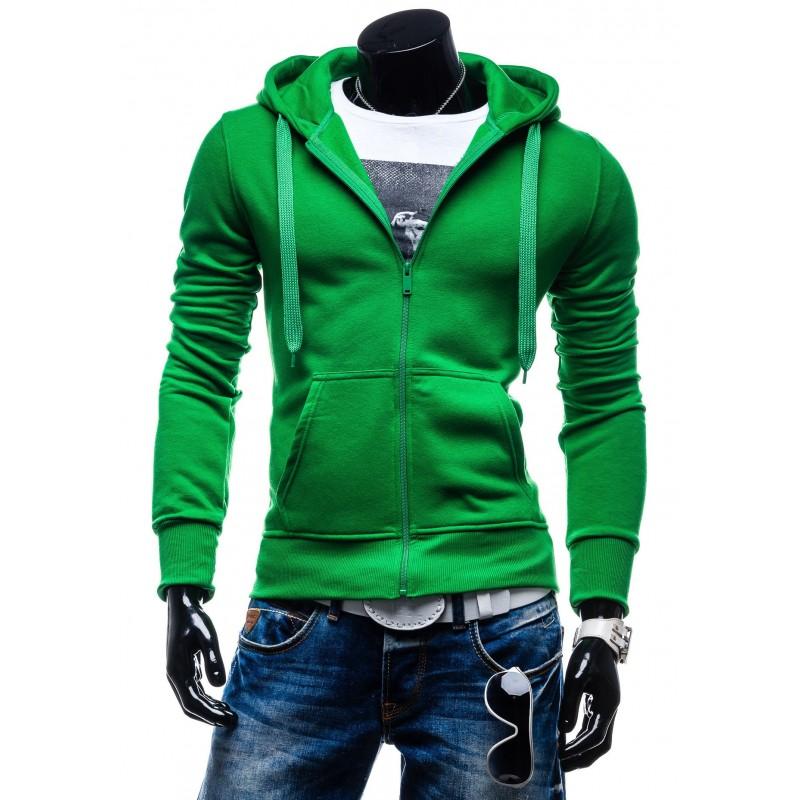 Moderná pánska mikina na zips s kapucňou zelenej farby - fashionday.eu 912656cf0a7