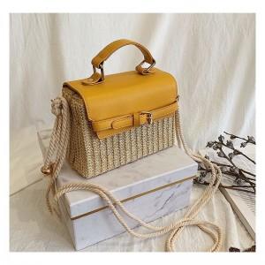Priestranná dámska pletená kabelka v žltej farbe