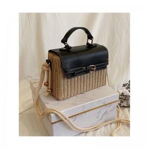 Slamená dámske originálna kabelka v čiernej farbe