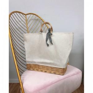 Štýlová dámska pletená kabelka s mašličkou