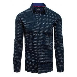 Tmavo modrá vzorovaná pánska košeľa s dlhým rukávom