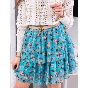 Modrá dámska voľná sukňa s kvetinovým motívom