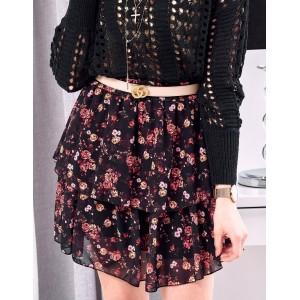 Letná dámska kvetinová sukňa čiernej farby