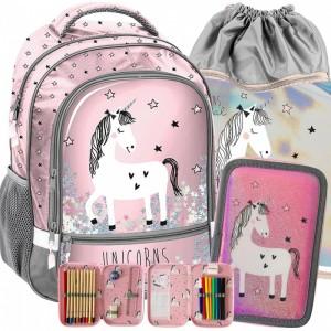 Ružový školský set pre dievčatá s jednorožcom
