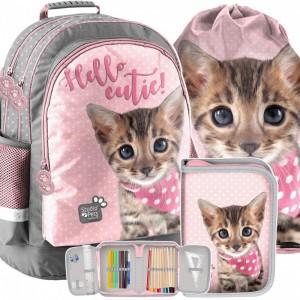 Ružovo sivá školská taška s mačiatkom