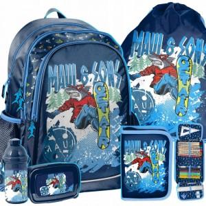 Modrá chlapčenská školská taška s príslušenstvom