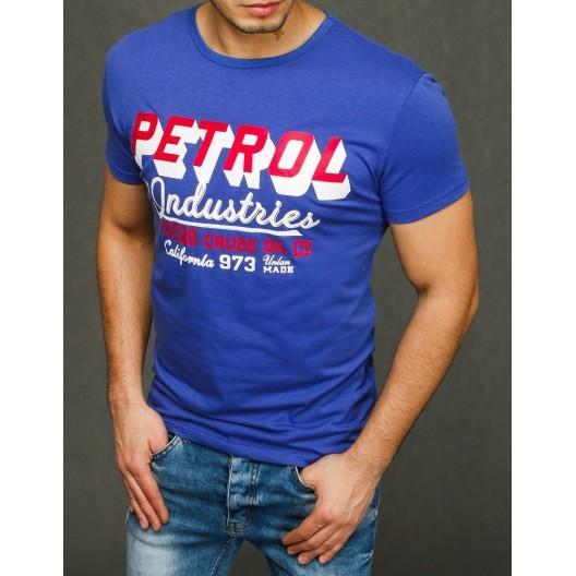 Moderné modré pánske tričko na leto s krátkym rukávom