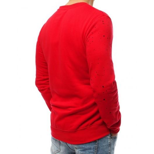 Pánska mikina bez kapucne červenej farby