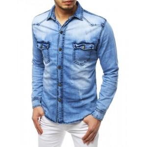 Modrá pánska rifľová košeľa s potlačou na zadnej strane