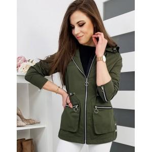 Zelená dámska prechodná bunda na zips s kapucňou