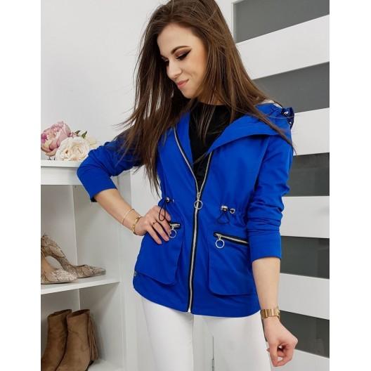 Štýlová dámska jarná bunda modrej farby s kapucňou