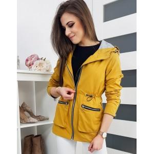 Žltá dámska jarná bunda s kapucňou a dvoma vreckami na zips