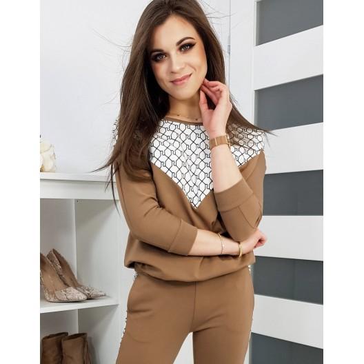 Štýlová dámska hnedá tepláková súprava s módnym vzorom