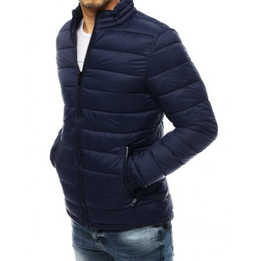 Pánska prešívaná bunda bez kapucne modrej farby