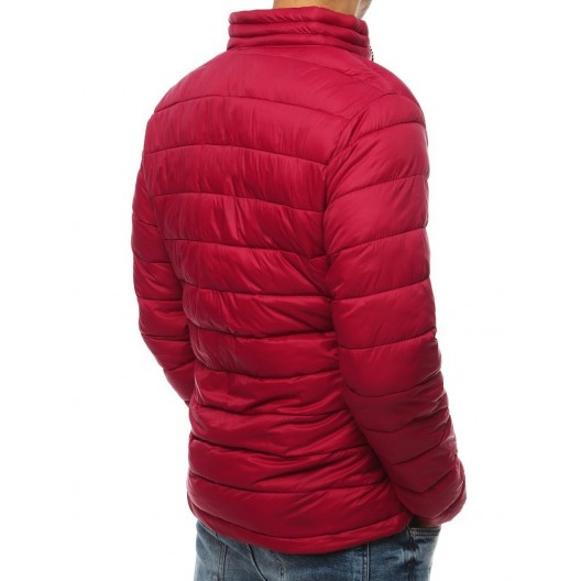 Bordová pánska prechodná bunda s prešívaním