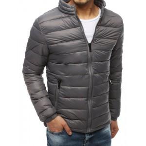 Prešívaná jarná bunda sivej farby pre pánov