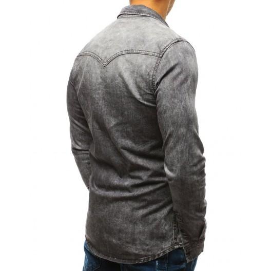 Sivá pánska rifľová košeľa s dlhým rukávom
