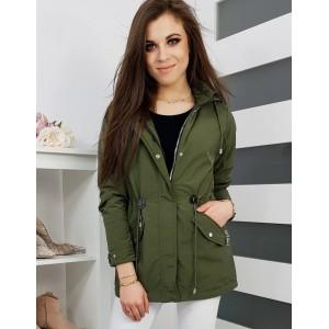 Jarná dámska bunda s kapucňou v olivovo zelenej farbe