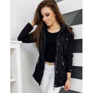 Čierna dámska prechodná bunda s kapucňou a zapínaním na zips