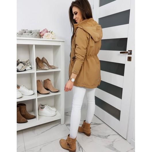 Elegantná béžová jarná bunda s kapucňou a dvoma vreckami