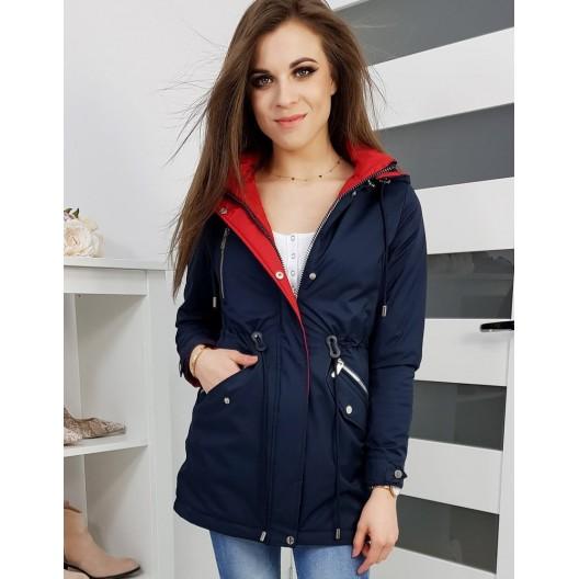 Obojstranná dámska jarná bunda tmavo modrej farby