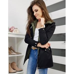 Štýlová dámska obojstranná bunda čiernej farby